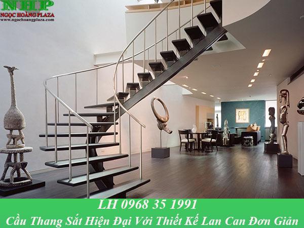 Mẫu cầu thang sắt hiện đại với thiết kế lan can sắt đơn giản