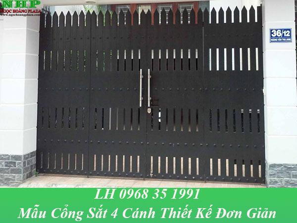 Mẫu cửa cổng sắt 4 cánh với thiết kế đơn giản