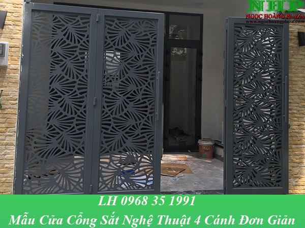 Mẫu cửa cổng sắt nghệ thuật được thiết kế đơn giản