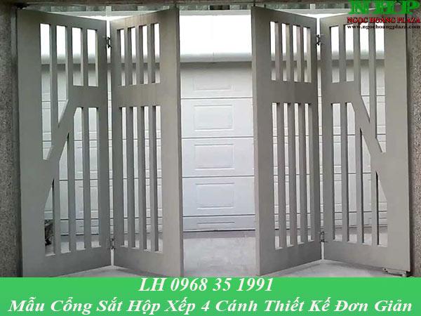 Mẫu cửa cổng xếp được xếp về 2 bên khi mở cửa