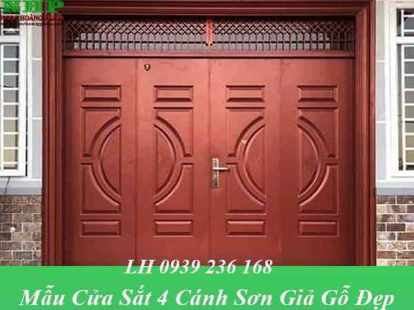 Mẫu cửa thép 4 cánh sơn vân gỗ đẹp, thiết kế tôn kín