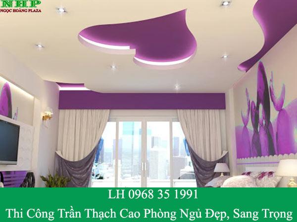 Thi công trần thạch cao phòng ngủ đẹp và hiện đại